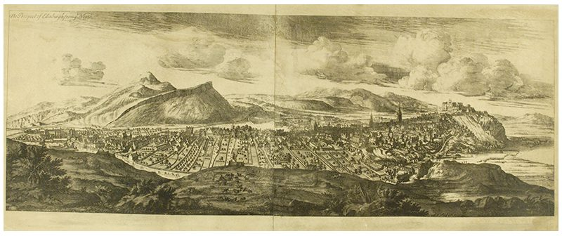 """The Prospect of Edinburgh from the North"""" showing the physic garden established in 1676, near where Waverley station is today"""