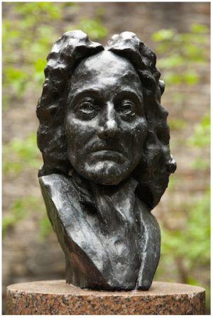 The bust of Robert Sibbald (1641-1722) stands in the physic garden of the Royal College of Physicians of Edinburgh