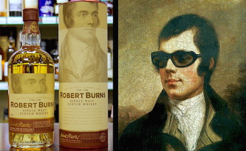 Figure 3. Ironizing image juxtaposing Arran Distillery's Robert Burns Single Malt Whisky with a popular culture rendition of Alexander Nasmyth's iconic 1787 portrait, Robert Burns, 1759-1796. Poet.