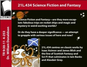 Course flyer for Dr Donaldson's Science Fiction and Fantasy class; image of Octopus planting Saltire on the Moon courtesy of Animal ABC by Susan Rennie, published by Itchy Coo Books